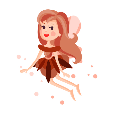 Beautiful fairy with wings, long hair and dress in brown colors flying surrounded by sparks vector Illustration