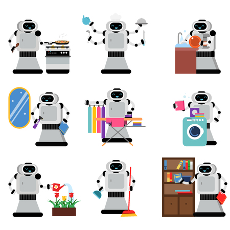 Robots assistants helping people in housework duties set, artificial intelligence vector Illustrations