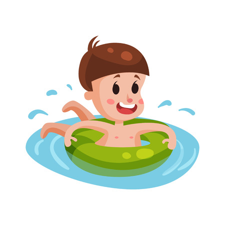 Happy boy swimming with green inflatable buoy, kid having fun in the pool or the sea colorful character vector Illustration Illustration