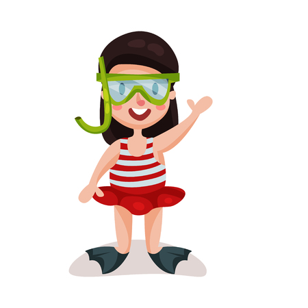 flippers: Little girl wearing red swimsuit, diving mask and flippers, kid ready to swim and dive colorful character vector Illustration