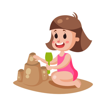 Cute little girl playing with sand on a beach, colorful character vector Illustration