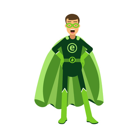 Ecological superhero man standing with hands on his waist, eco concept vector Illustration