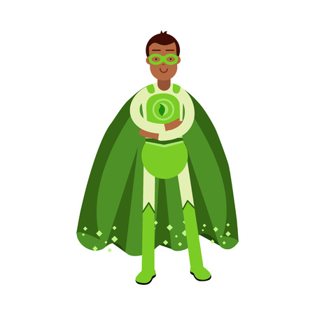 Ecological superhero man in green costume standing with folded arms, eco concept vector Illustration