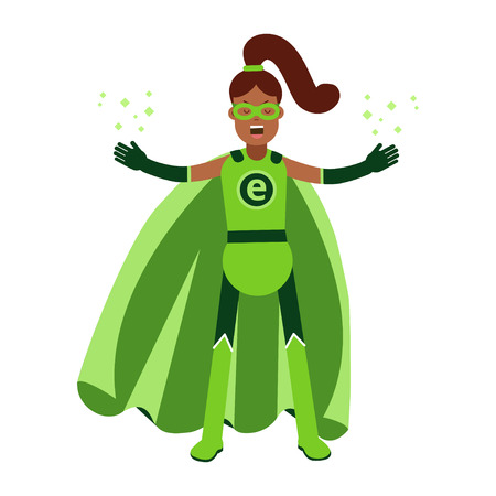Ecological superhero black woman in green costume and ponytale, eco concept vector Illustration