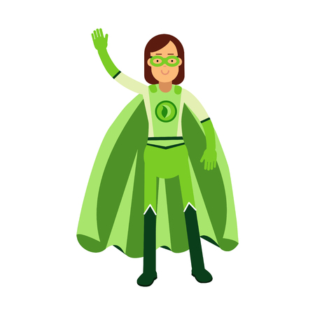 Ecological superhero woman standing and waving his hand, eco concept vector Illustration