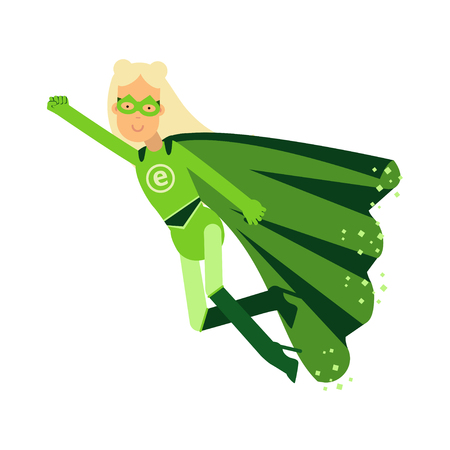 super woman: Ecological superhero blonde woman in green costume flying through the air in superhero pose with outstretched hand, eco concept vector Illustration Illustration