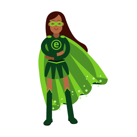 super woman: Ecological superhero woman standing with folded arms, eco concept vector Illustration Illustration