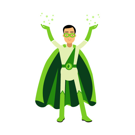 Ecological green superhero man standing with his hands up, eco concept vector Illustration