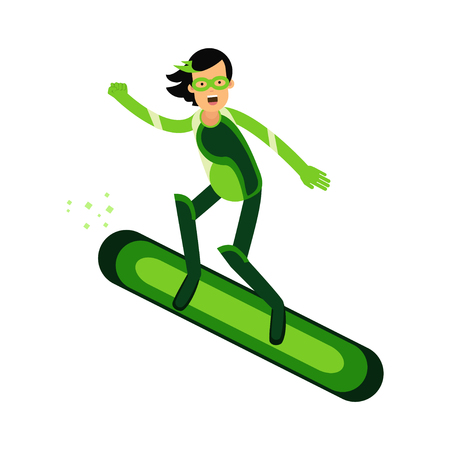 Ecological superhero woman flying on a snowboard, eco concept vector Illustration Illustration