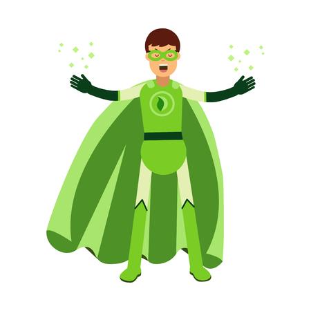 Ecological superhero man in green costume. Stok Fotoğraf - 82835799