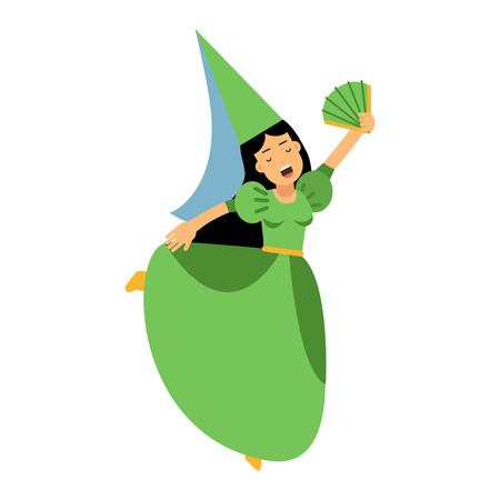 Medieval actress girl character in a green dress and pointed hat, colorful vector Illustration