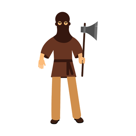 Medieval executioner character standing with ax colorful vector Illustration