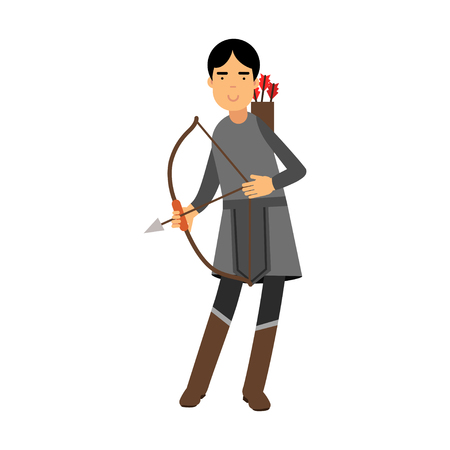 Archer in medieval outfit colorful character vector Illustration