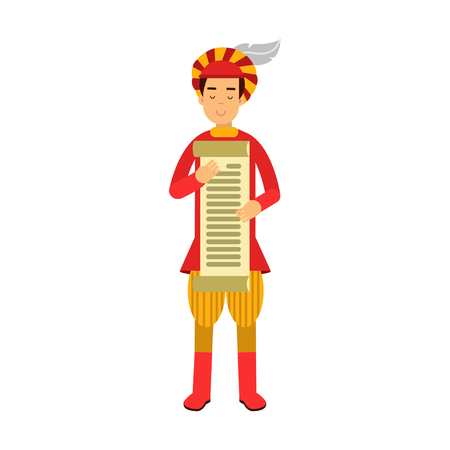 Royal scribe medieval character holding a scroll, colorful vector Illustration