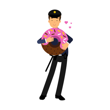Policeman character in a blue uniform standing and holding big pink glazed donut vector Illustration