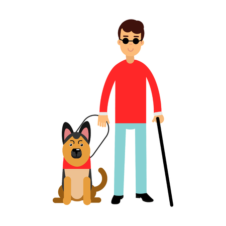Blind man in dark glasses with walking stick and his dog colorful vector Illustration Çizim