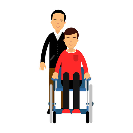 Disabled man in wheelchair, friend or social worker helping him colorful vector Illustration