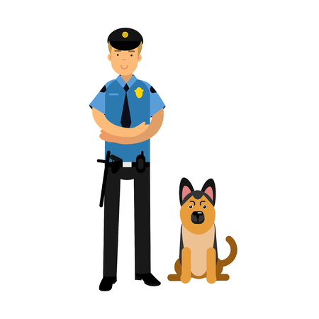 Policeman character in a blue uniform standing with german shepherd, police dog vector Illustration Vectores