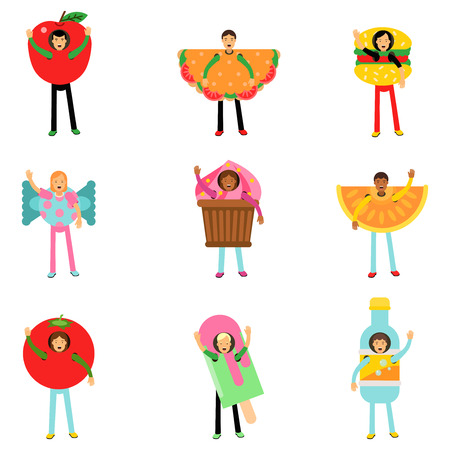 People wearing fast food healthy snacks costumes set, men and women advertising menu of restaurants and cafes colorful characters vector Illustrations isolated on white background Illustration