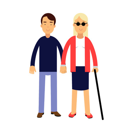 Young blonde blind woman in dark glasses with stick and helper colorful vector Illustration