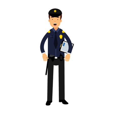 Police officer character in a blue uniform holding clipboard vector Illustration Illustration