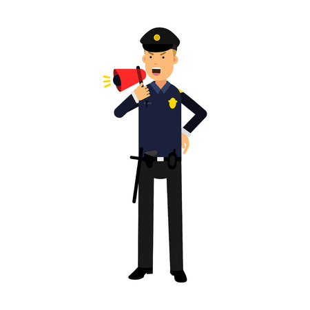 truncheon: Police officer character in a blue uniform shouting using megaphone colorful vector Illustration