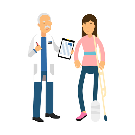 Injured young brunette woman with leg in a plaster talking to a doctor colorful vector Illustration