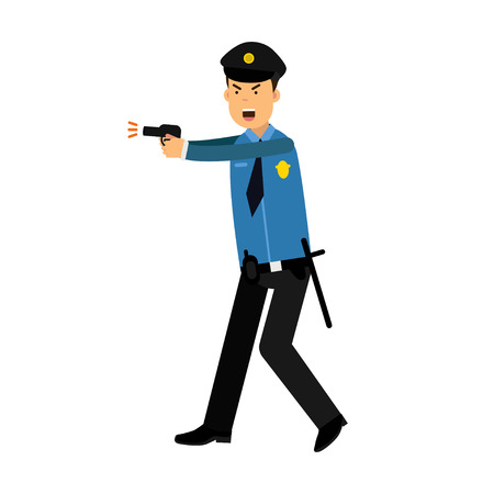 truncheon: Police officer character in a blue uniform aiming a gun vector Illustration
