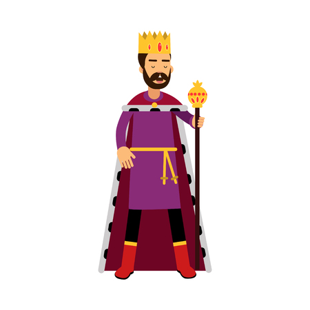 scepter: Majestic king in gold crown standing and holding scepter.