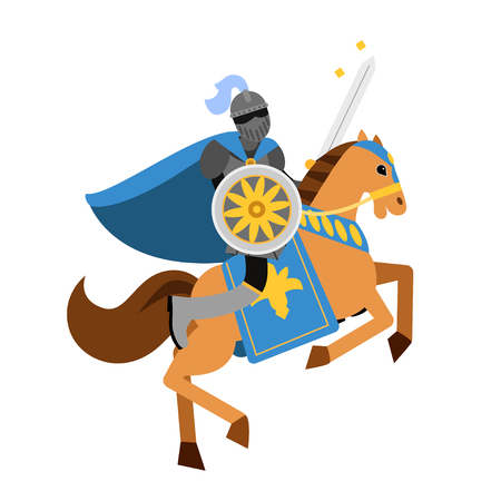 Armed knight riding horse medieval character, colorful vector Illustration Illustration
