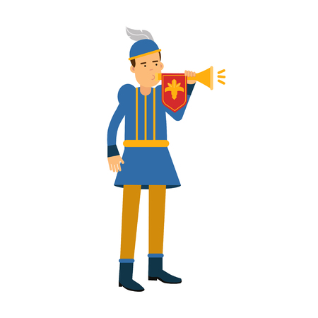 poet: Royal herald medieval character with trumpet. Illustration