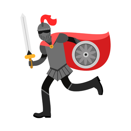 Medieval armed knight character in red cape. Illustration