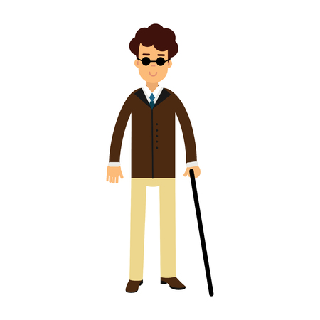 Blind young man in dark glasses and walking stick colorful vector Illustration on a white background Illustration