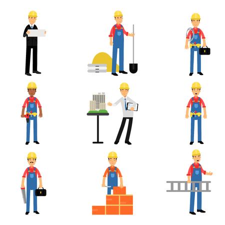 arquitecto caricatura: Caracteres de los trabajadores industriales de la ingeniería de construcción en el trabajo conjunto de vectores de la historieta Ilustraciones en un fondo blanco