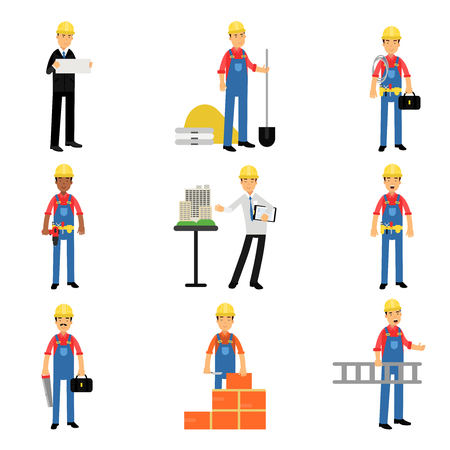 Construction engineering industrial workers characters at work set of cartoon vector Illustrations on a white background