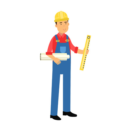 Male construction worker character holding paper rolls and bubble level tool cartoon vector Illustration on a white background