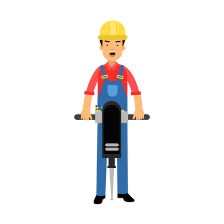 pave: Male construction worker character holding pneumatic plugger cartoon vector Illustration on a white background