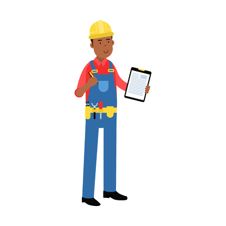 Male construction worker character in overalls with belt with tools holding clipboard with document cartoon vector Illustration on a white background