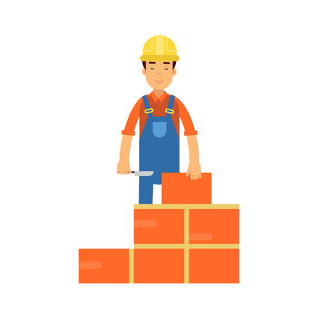 Construction worker bricklayer making a brickwork with trowel and cement mortar cartoon vector Illustration on a white background Illustration