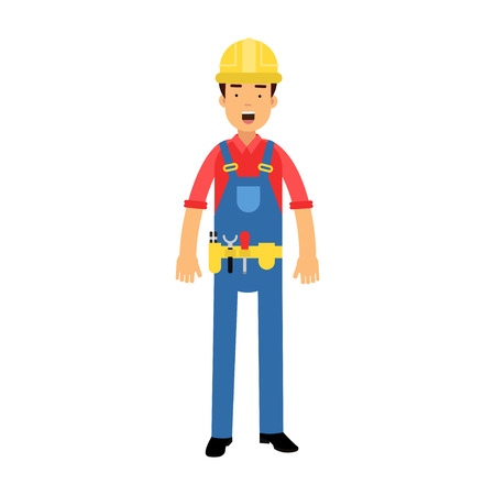 Male construction worker character in overalls with belt with tools cartoon vector Illustration on a white background