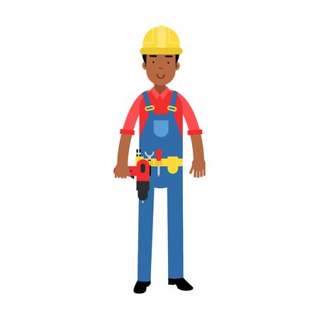Male construction worker character in overalls with belt with tools holding drill cartoon vector Illustration on a white background