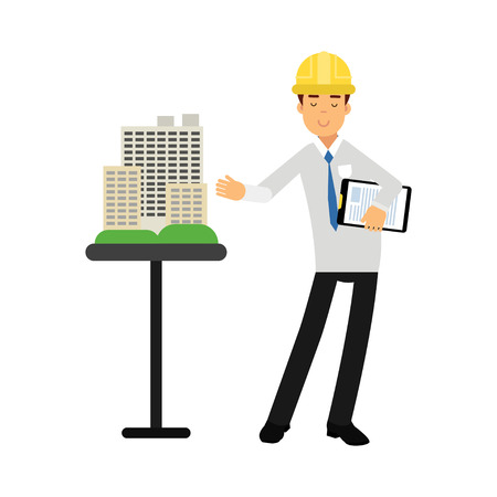 Architect builder character in hard hat presenting a model of new building cartoon vector Illustration on a white background
