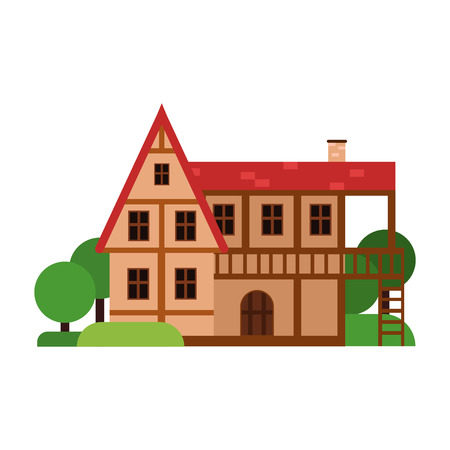 Old two storey house, ancient architecture building vector Illustration on a white background Illustration