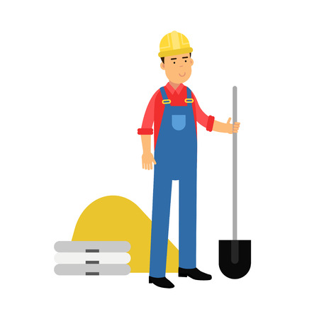 Male construction worker character standing with shovel cartoon vector Illustration on a white background Illustration