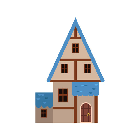 Traditional old house with timber framing and blue roof.