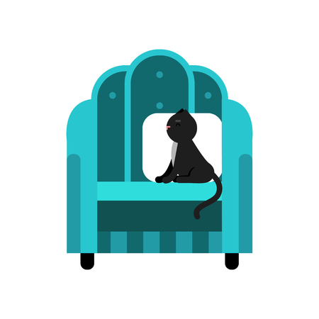 Cute black cat sitting on a turquoise armchair, home pet resting cartoon vector Illustration Illustration