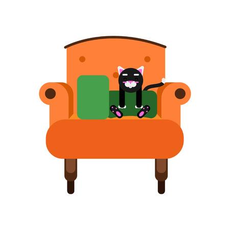 Cute black cat sitting on an orange armchair, home pet resting cartoon vector Illustration Vectores