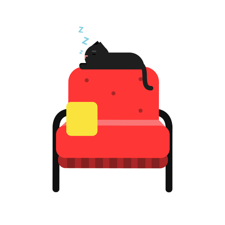 Cute black cat sleeping on a red armchair, home pet resting cartoon vector Illustration Illustration