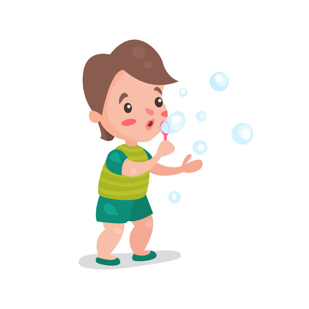 sphere standing: Cute cartoon little boy blowing and playing with soap bubbles vector Illustration Illustration