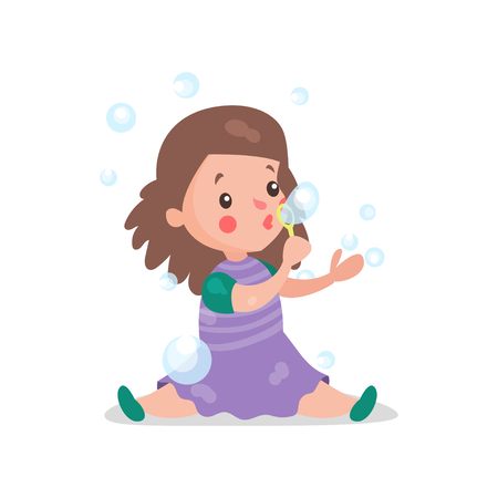 Sweet cartoon brunette little girl sitting on the floor blowing and playing with soap bubbles vector Illustration Illustration